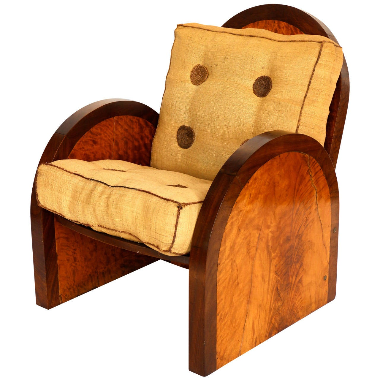 Art deco bergère chair in yellow wood at stdibs