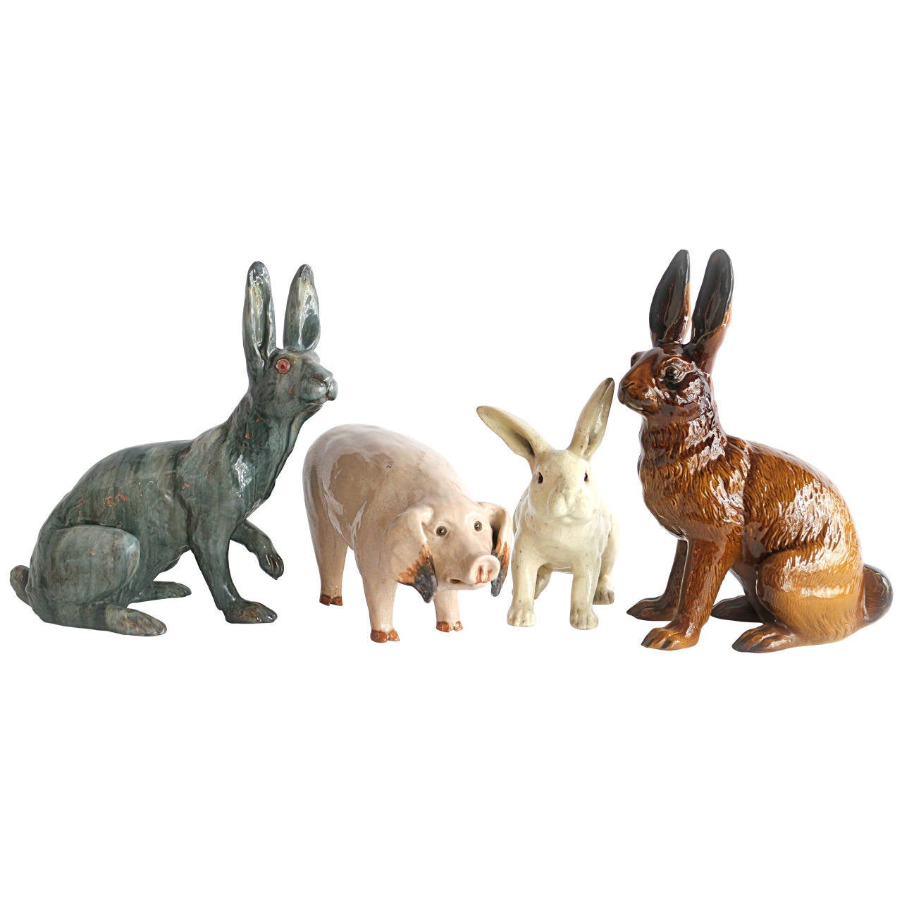 Set of Four Glazed Terracotta Display Animals, Late 19th and Early 20th Century