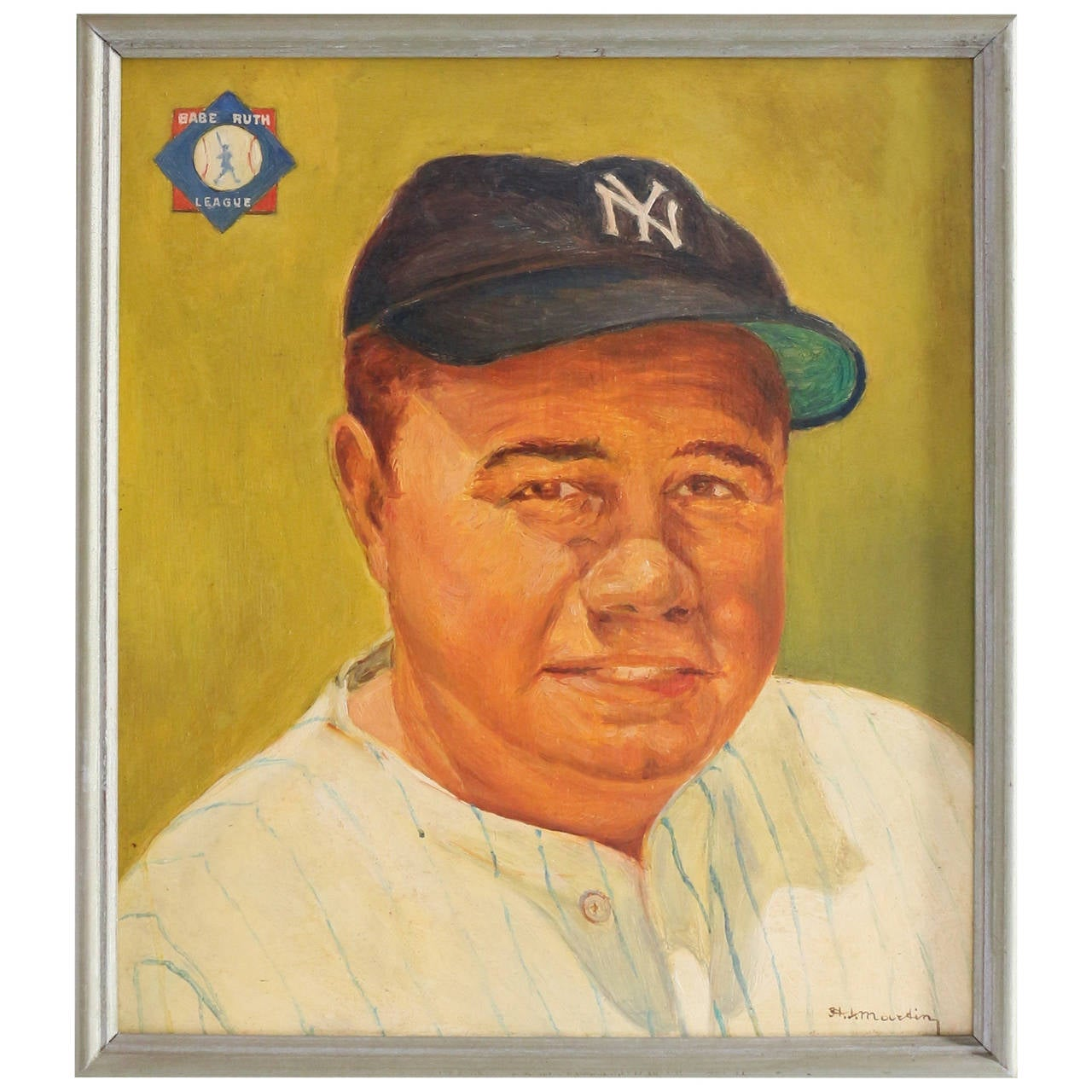 """Portrait of Babe Ruth, Oil on Board Signed and Dated """"H.J. Martin, 1960"""""""