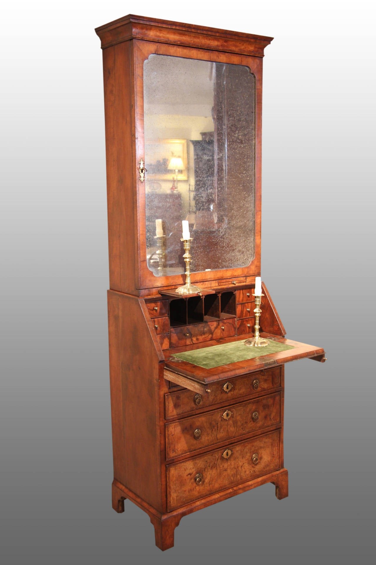 superb george i burr walnut bureau bookcase of elegant small proportion at 1stdibs. Black Bedroom Furniture Sets. Home Design Ideas