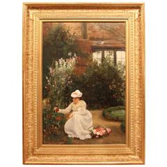 Gathering Roses Henley-on-thames Oil John Haynes Williams Lady House Roses