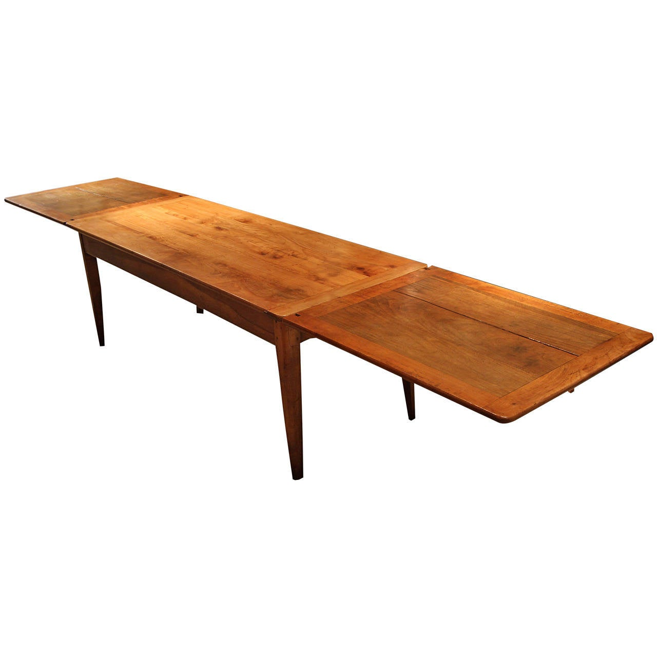 Good quality cherry wood farmhouse table extender breton for Quality wood dining tables