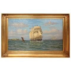 Swordfish off Copenhagen, William Karl F Arnesen Oil Sea 3 Boats Castle Clouds