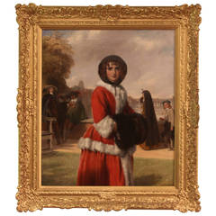 Observed of All Observers Oil John Callcott Horsley Lady Red Cloak Five Figures
