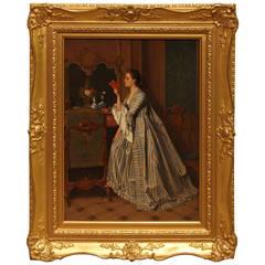 Good Read Oil Albert Gilbert Lady in Long Dress Reading Book in Bedroom Carved