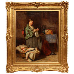 Moment's Peace Oil Joseph Moseley Barber Baby in Crib Lady Knitting Table Chair