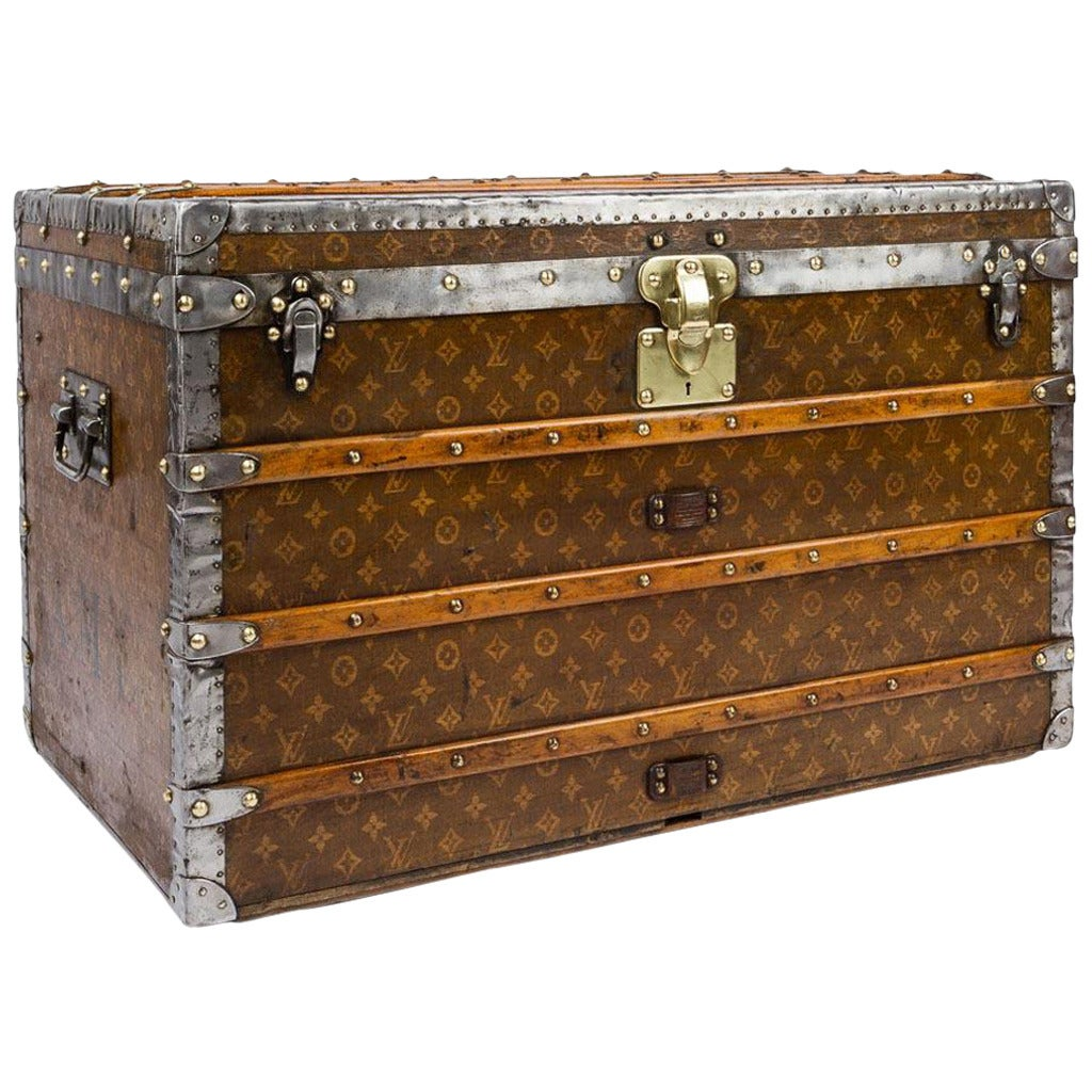 Steamer Trunk Furniture Antique Louis Vuitton Monogram Tissac Canvas Steamer Trunk Circa