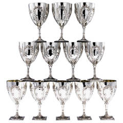 Antique 20th Century Rare Georgian and American Solid Silver Set of 12 Goblets
