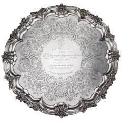 Antique 19th Century Victorian Solid Silver Salver Tray, J E Terrey, circa 1842