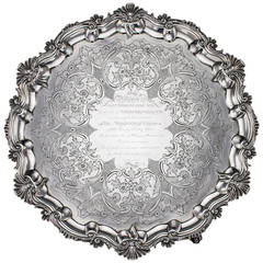 Antique 19th Century William IV Solid Silver Large Salver Tray by W. Brown