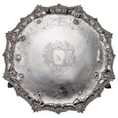 Antique 18th Century Rare Georgian Solid Silver Salver Tray by Ebenezer Coker