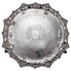 Antique 18th Century Rare Georgian Solid Silver Salver Tray by Ebenezer Coker