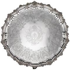 19th Century Georgian Solid Silver Salver Tray, William Bennett, circa 1817