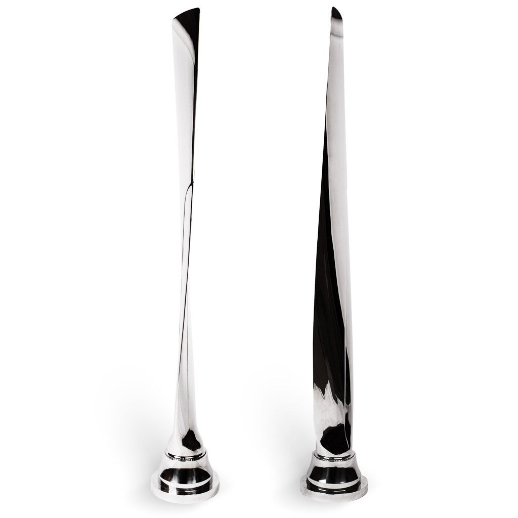 A Stunning pair of Airplane Propeller Blades, each highly polished to mirror effect, very decorative as modernist sculptures, for display or collection use only.  The manufacturer of the propellers is Dowty Rotol, a British engineering company