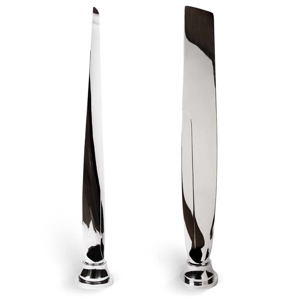 Great Britain (UK) Pair of Tall, Polished Airplane Propeller Blade Sculptures For Sale