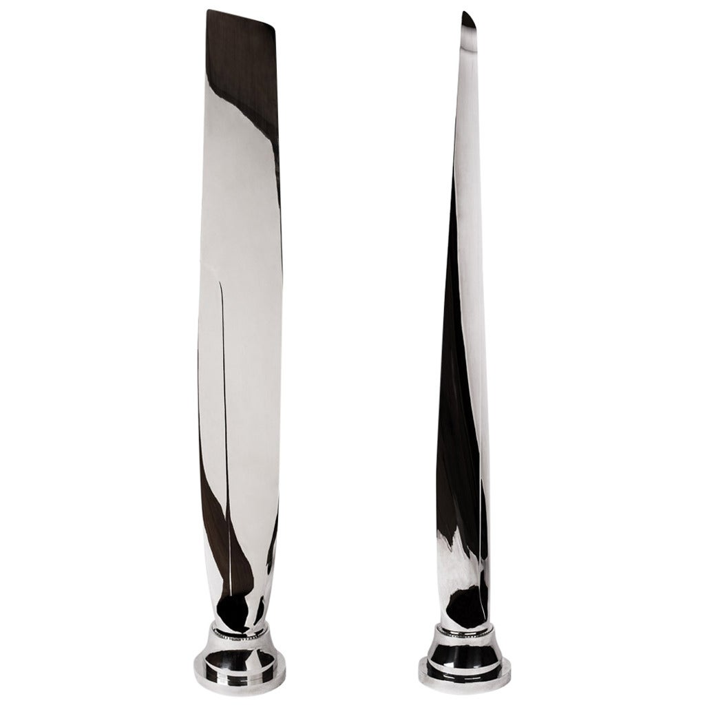Pair of Tall, Polished Airplane Propeller Blade Sculptures