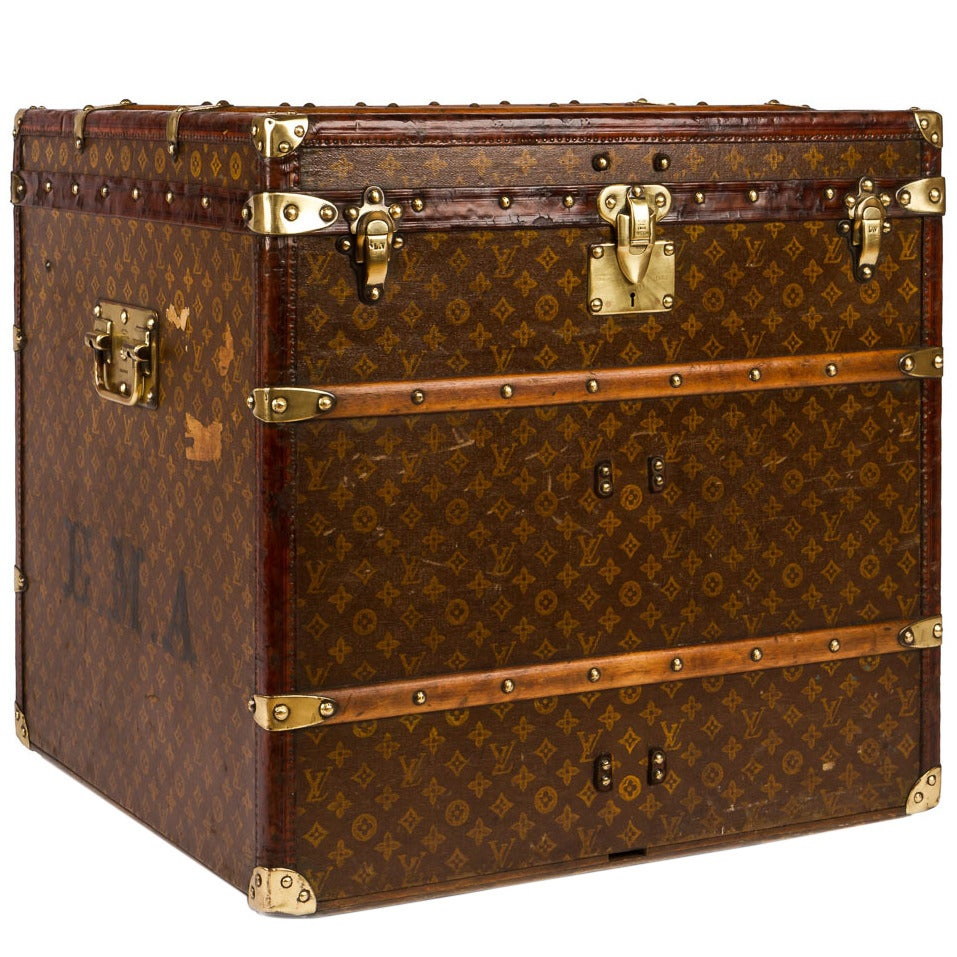 Antique 20th Century Louis Vuitton Monogram Cube Steamer Trunk, circa 1910