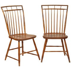 Pair of Windsor Chairs with Pinned Backs