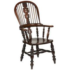 Windsor Armchair, English Broad-Arm High-Back Chair