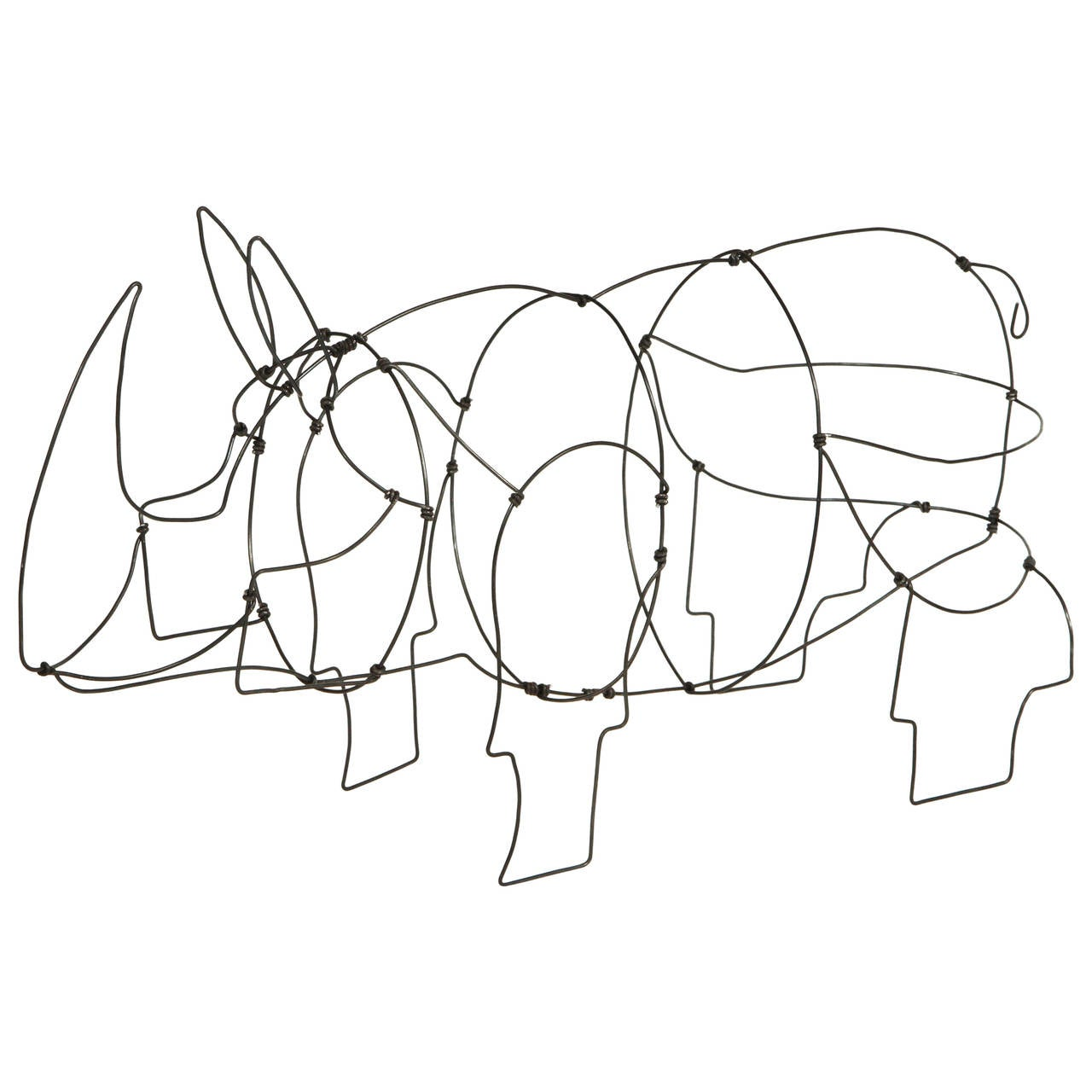 wire rhino sculpture at 1stdibs