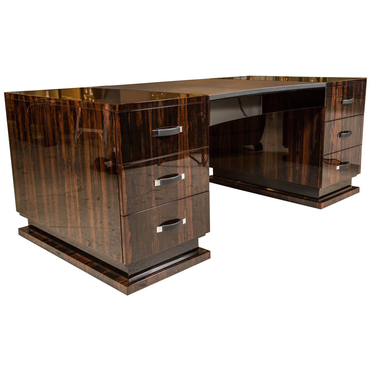Art Deco Style Executive Desk In Ziricote At 1stdibs