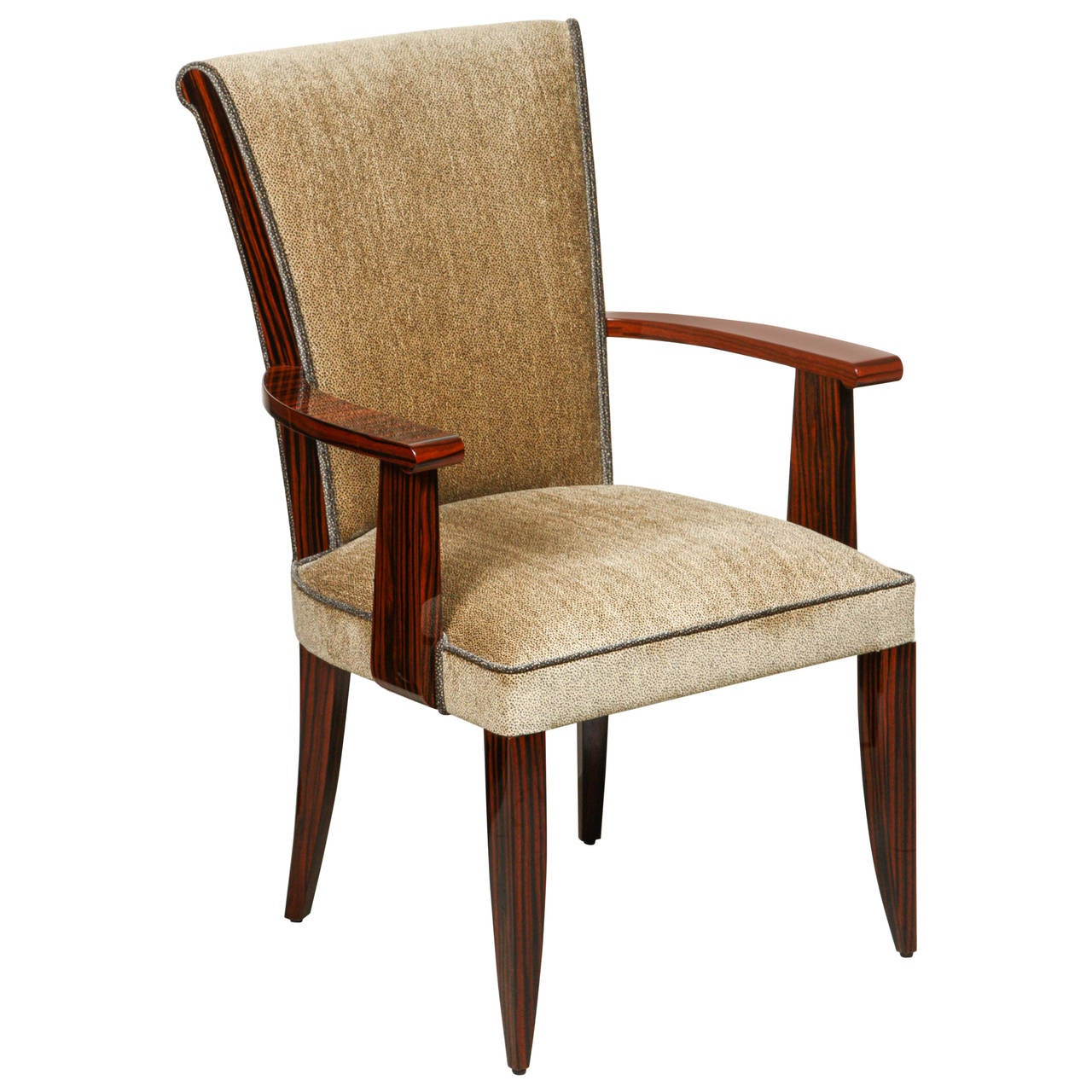 Art deco style high back dining chair with arms in for High back dining room chairs with arms
