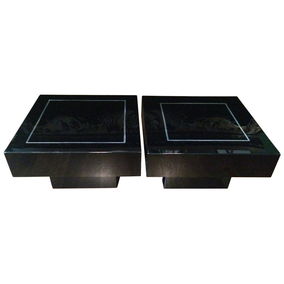 Pair Of French 1970s Black Acrylic Low Tables At 1stdibs