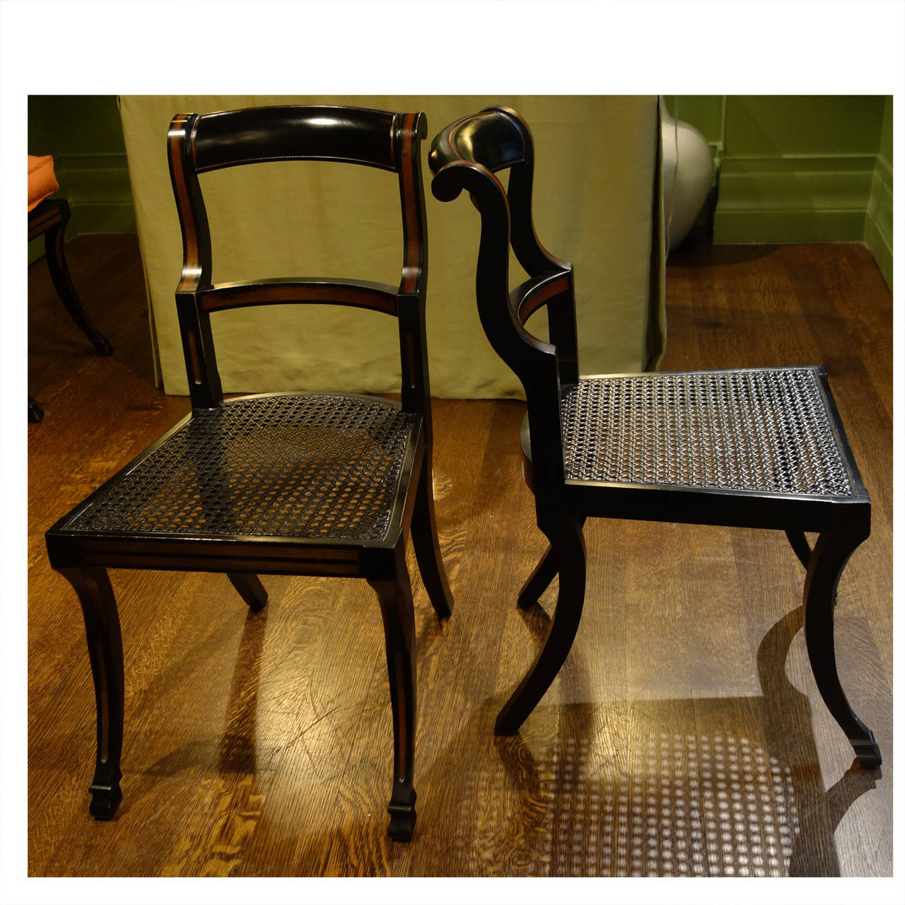 Set Of Four Vintage American Red And Black Painted Chairs