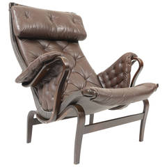 Bruno Mathsson 'Pernilla 69' Lounge Chair in Leather for DUX