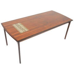Danish Modern Coffee Table In Tile and Rosewood