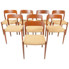 Set of Eight Niels Moller Model 75 Teak Dining Chairs