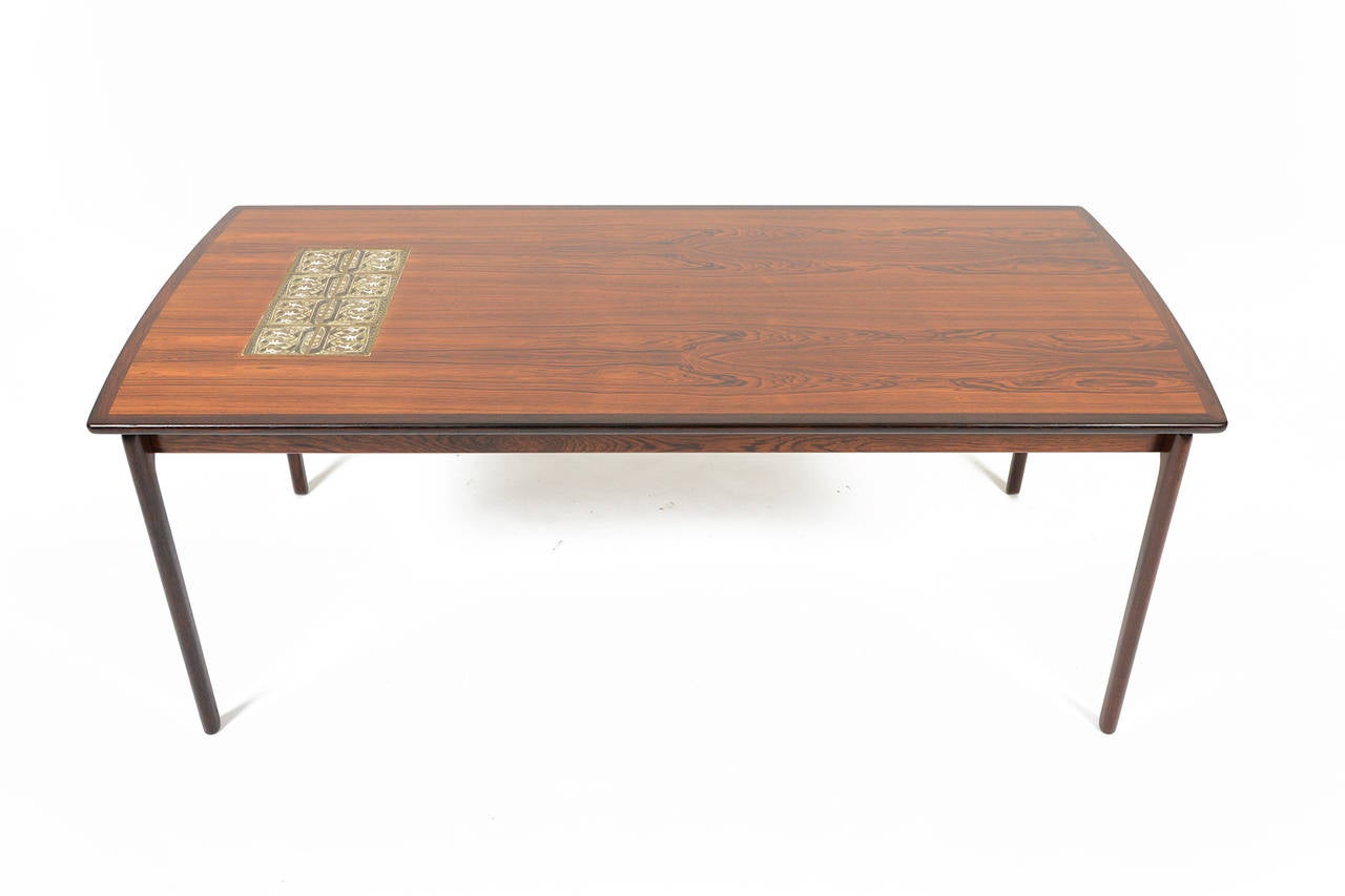 Danish Modern Coffee Table In Tile And Rosewood At 1stdibs