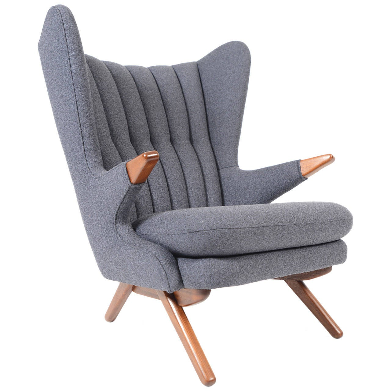 Svend Skipper Model 91 Lounge Chair In Taupe Wool 1