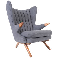 Svend Skipper Model 91 Lounge Chair in Taupe Wool