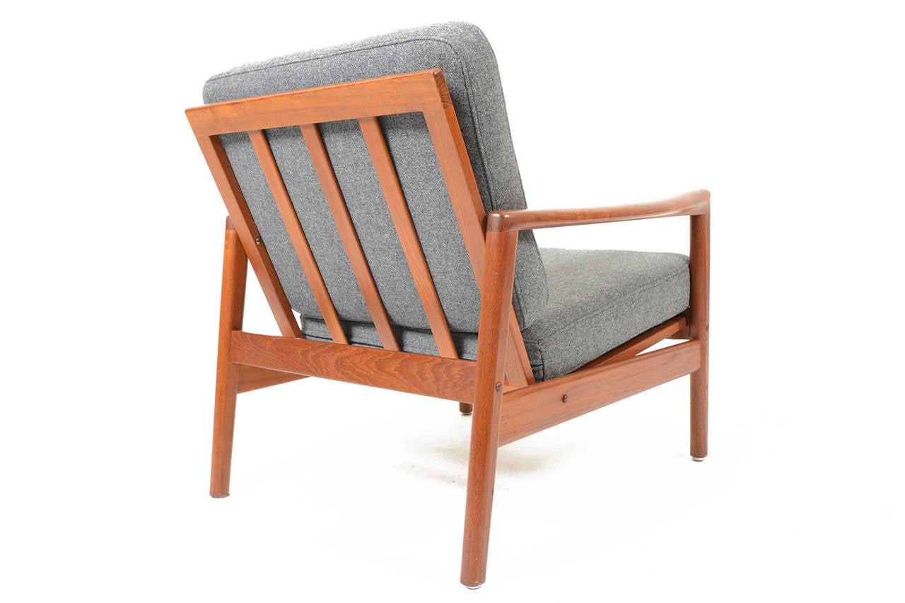 Pair Of Danish Modern Teak Lounge Chairs In Grey Wool At