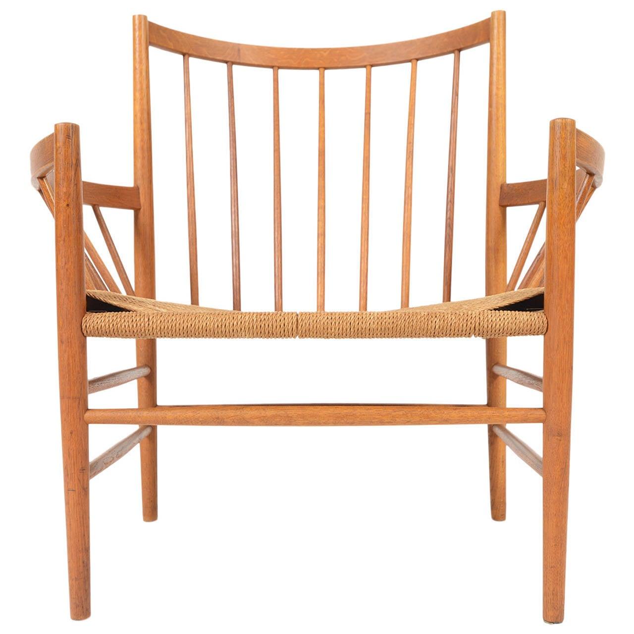 J rgen b kmark oak and paper cord lounge chair for fdm m bler for sale at 1stdibs - Paper furniture ...