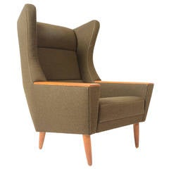 Danish Modern Wingback Oak and Olive Lounge Chair