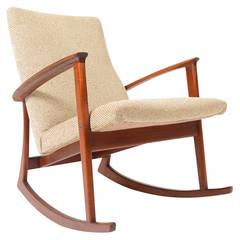 Danish Modern Cream and Teak Rocking Chair