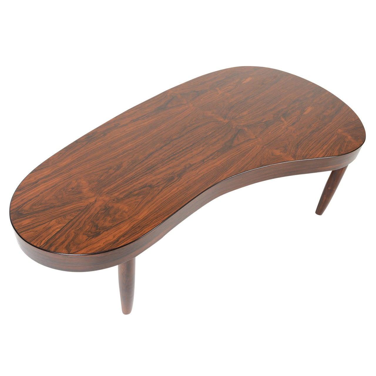 Danish Modern Biomorphic Rosewood Coffee Table At 1stdibs