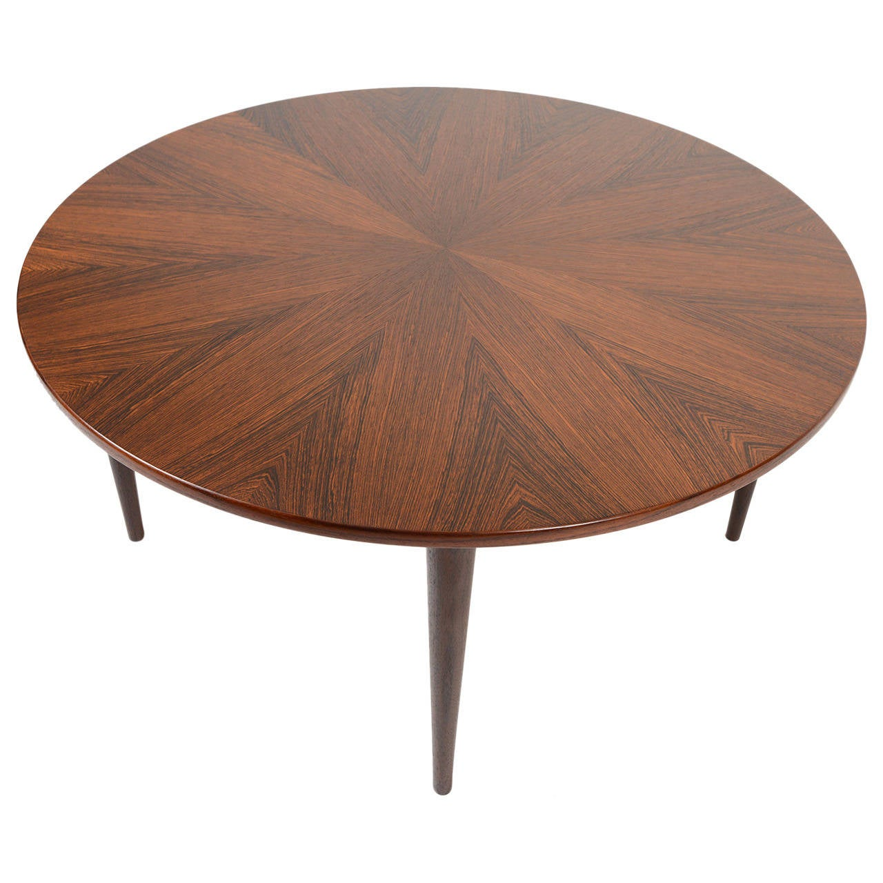 Danish modern round starburst brazilian rosewood coffee table at 1stdibs Round coffee table modern