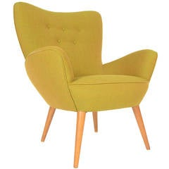 Danish Modern Lounge Chair in Vivid Green