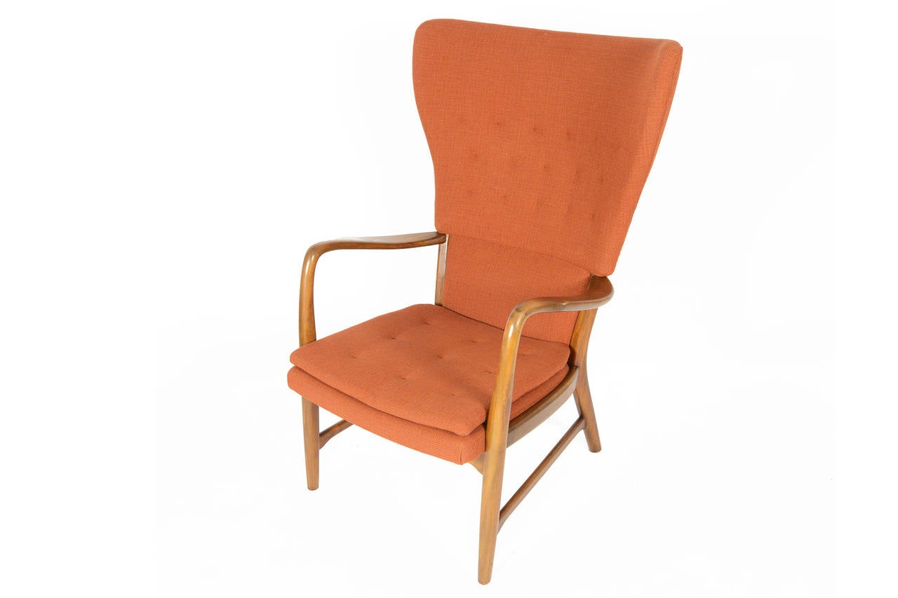 danish modern wingback lounge chair in terracotta at 1stdibs