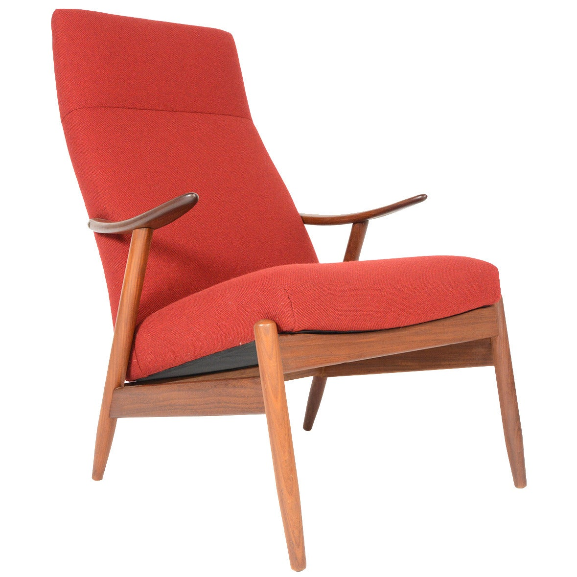 danish modern highback teak lounge chair in crimson at 1stdibs. Black Bedroom Furniture Sets. Home Design Ideas