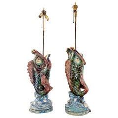 Late 19th Century Majolica Lamps in Terracotta