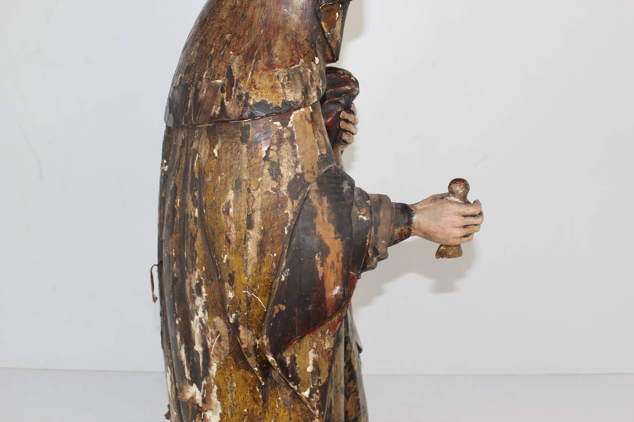 Polychromed Late 18th Century Virgin Mary For Sale