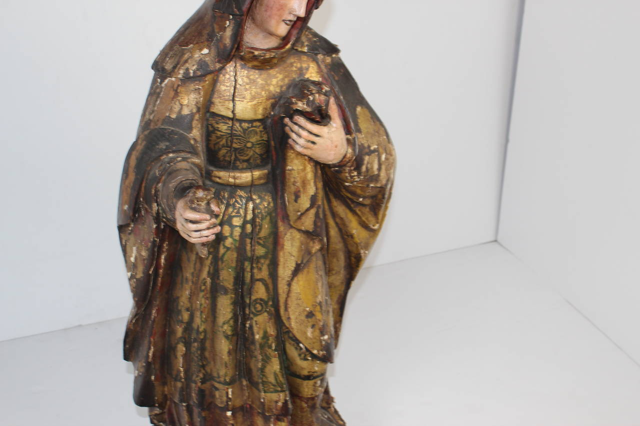 Hardwood Late 18th Century Virgin Mary For Sale