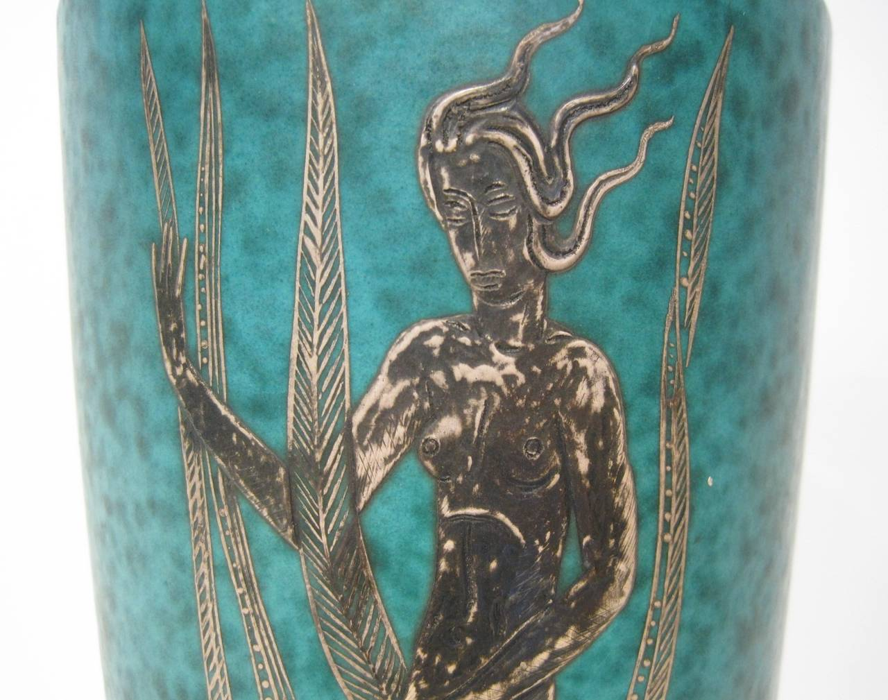 Stoneware vase with silver inlay, circa 1930s, Sweden.  Free shipping within the United States and Canada.
