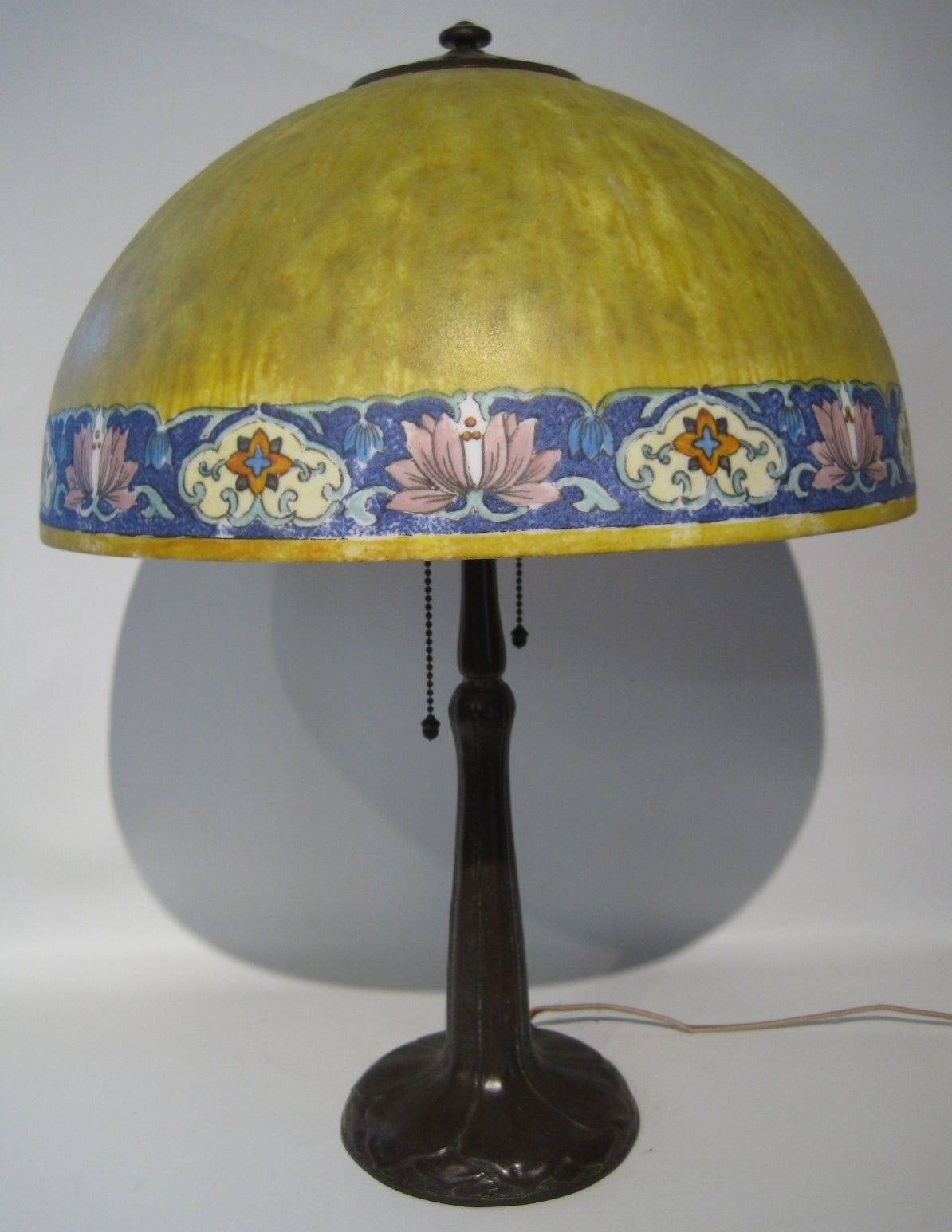 Handel lamp with obverse painted and etched shade.