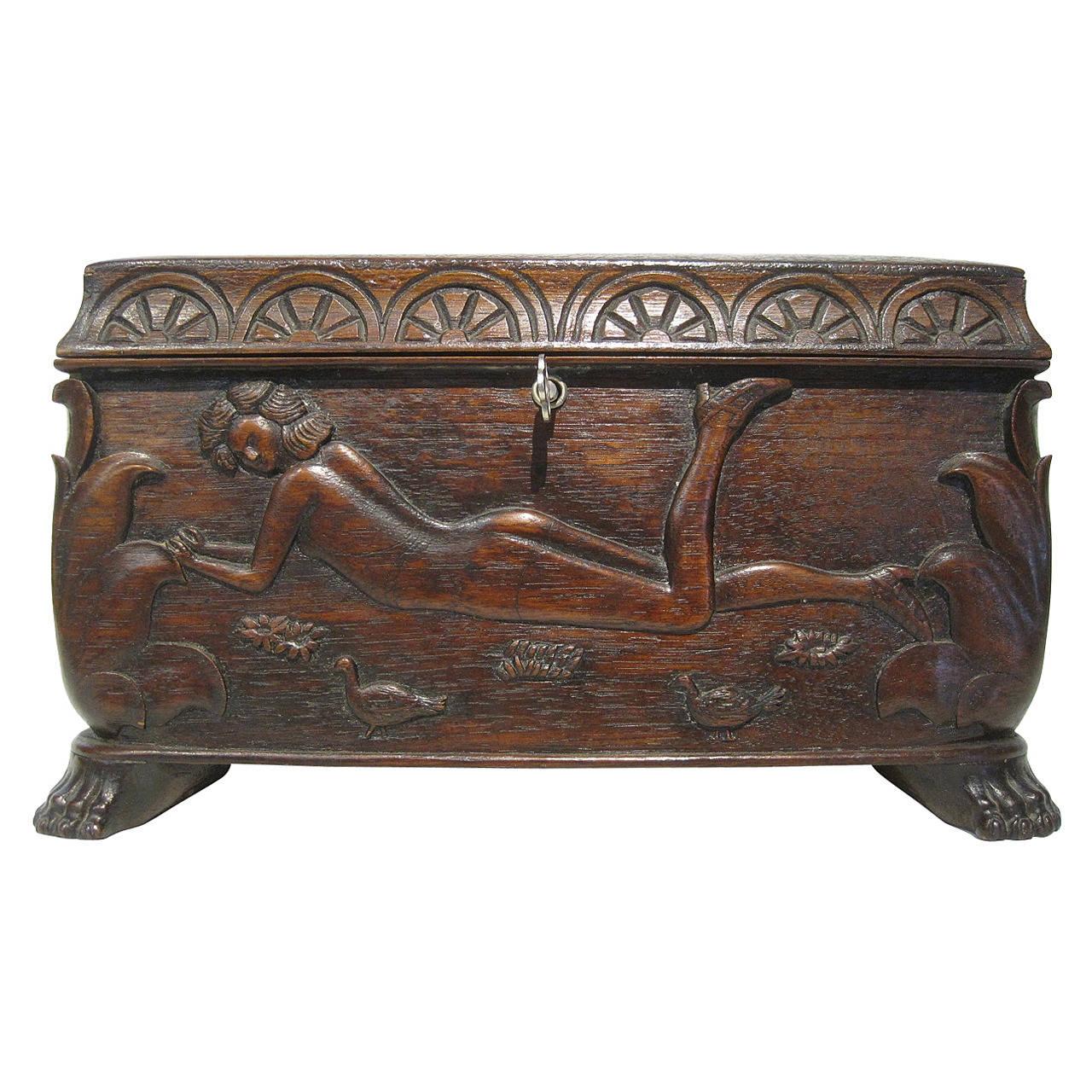 Hand carved folk art box at stdibs