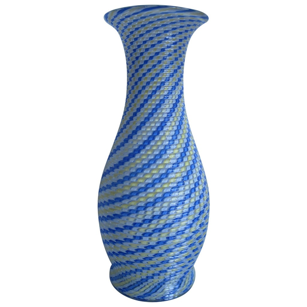 Clichy France  city photos : Clichy Vase, French, circa 1860, Blue, Yellow and White Cane Vase For ...